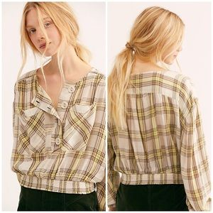 Free People XS It's The Good Life Plaid Top New